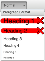 Screenshot of the Headings dropdown.
