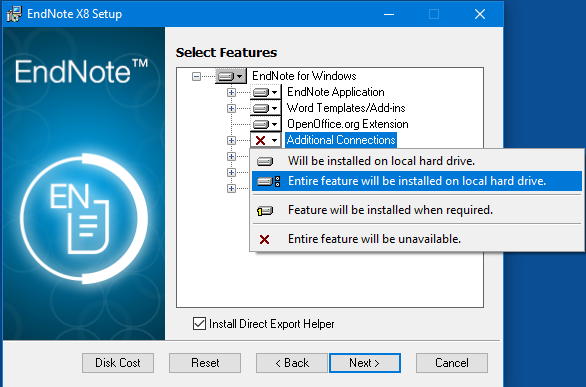 EndNote x8 custom installation windows