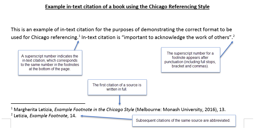 chicago style intext citation How to create footnotes and endnotes for chicago style chicago's notes and bibliography formatting requires writers to use footnotes and endnotes when using in-text citations these footnotes and endnotes acknowledge the different sources used in the work when a source is used in a research paper, a roman numeral.