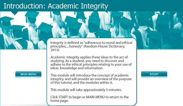 First page of the Academic Integrity online tutorial. Click on image to start tutorial.