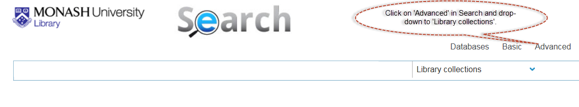 Screen shot of the library's Search screen, suggesting users click on the Advanced option to find titles by author.