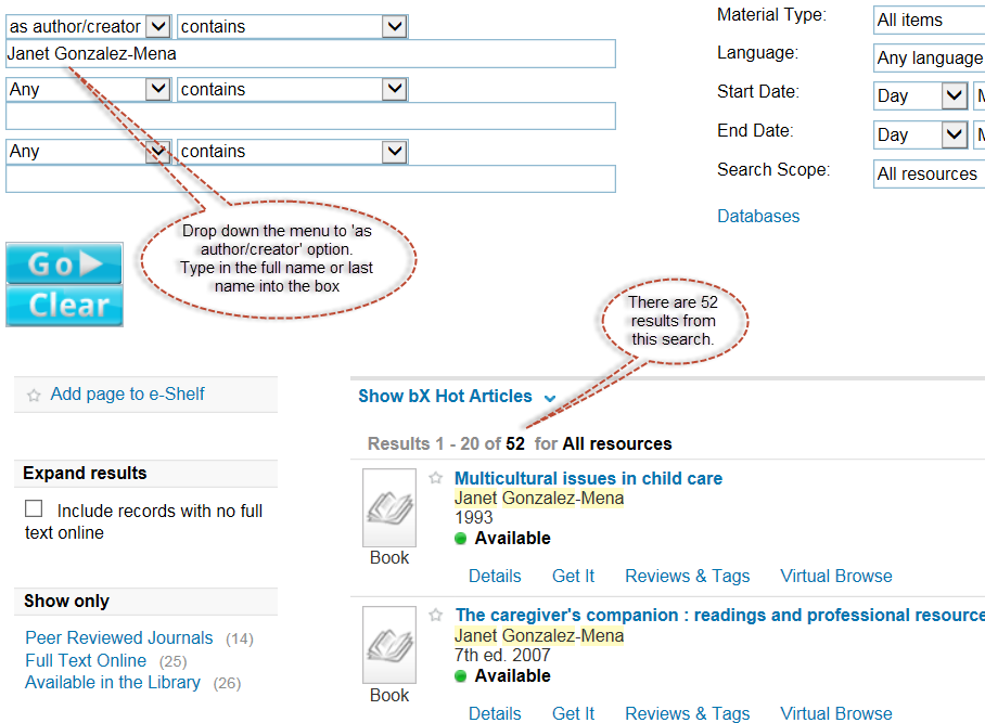 Screen shot of drop-down menu of 'as author/creator' option to put in author details.