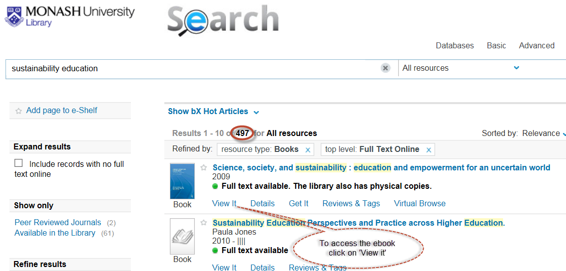 Screen shot of 'sustainability' and 'education' keywords in Search plus ebook results.