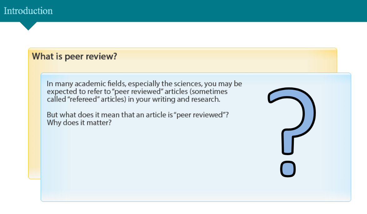 Link to the first slide of the online tutorial 'What is Peer Review'. Click on to access this tutorial.