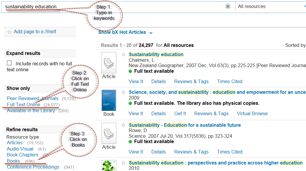 Steps showing how to find ebooks using sustainability and education keywords. Step 1: type keywords into search box, step 2: click on fulltext link. Step 3: Click on Books link.