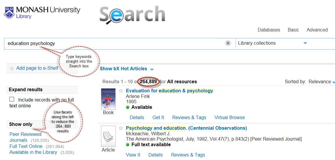 Screen shot of keyword search using 'education' and 'psychology'. Examples of how to use facets to refine results along lefthand panel.