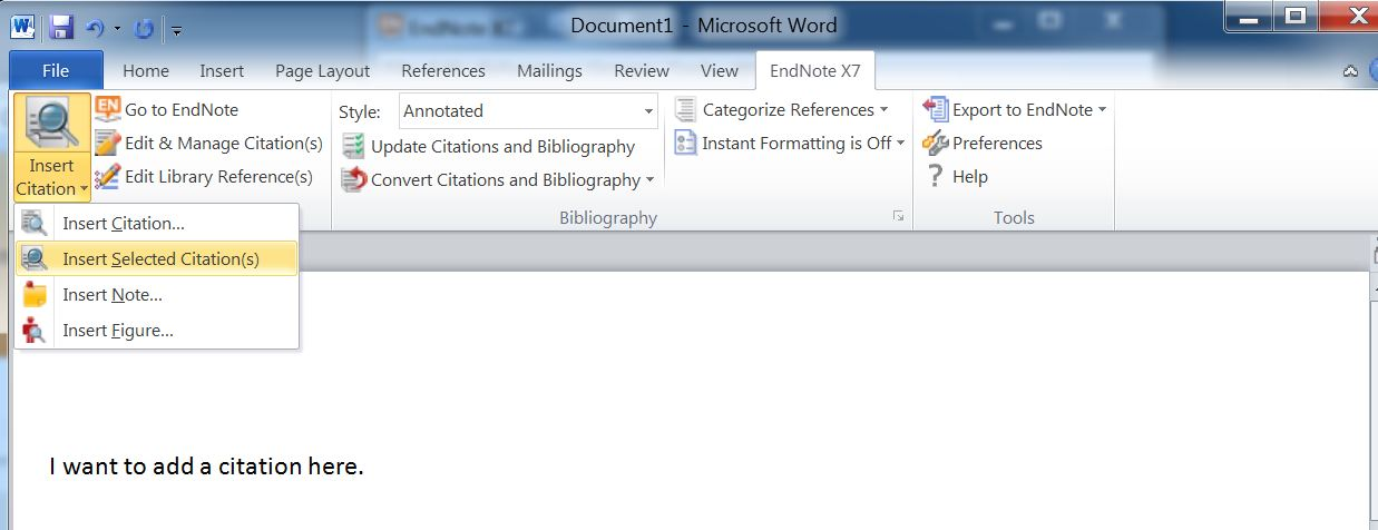 Endnote basics windows version endnote libguides at oregon in endnote go to tools cite while you write insert selected citations ccuart Image collections