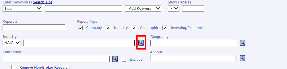 Using the search icon to look up an industry code