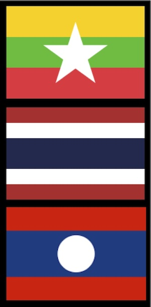 National flags of Myanmar, Thailand and Laos