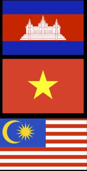National Flags of Cambodia, Vietnam and Malaysia