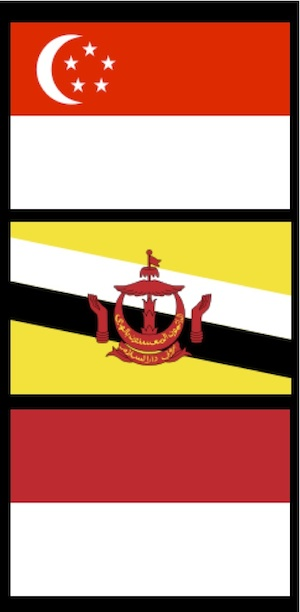 National Flags of Singapore, Brunei and Indonesia