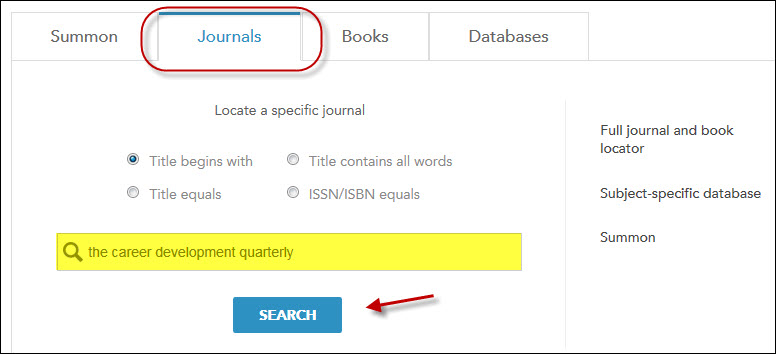 journal search on main library page