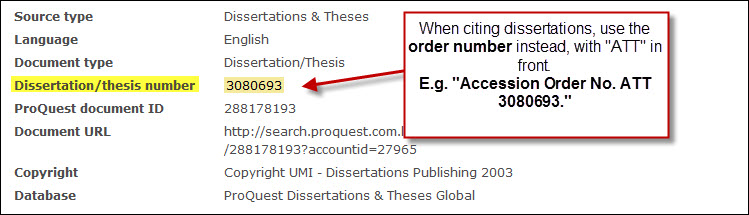 Accession order number dissertation