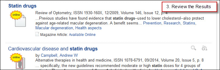 Example of Summon Search results for Statin Drugs.