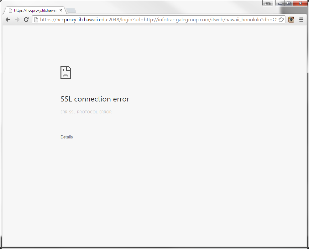 "Screenshot of Chrome browser showing ""SSL connection error"" message."