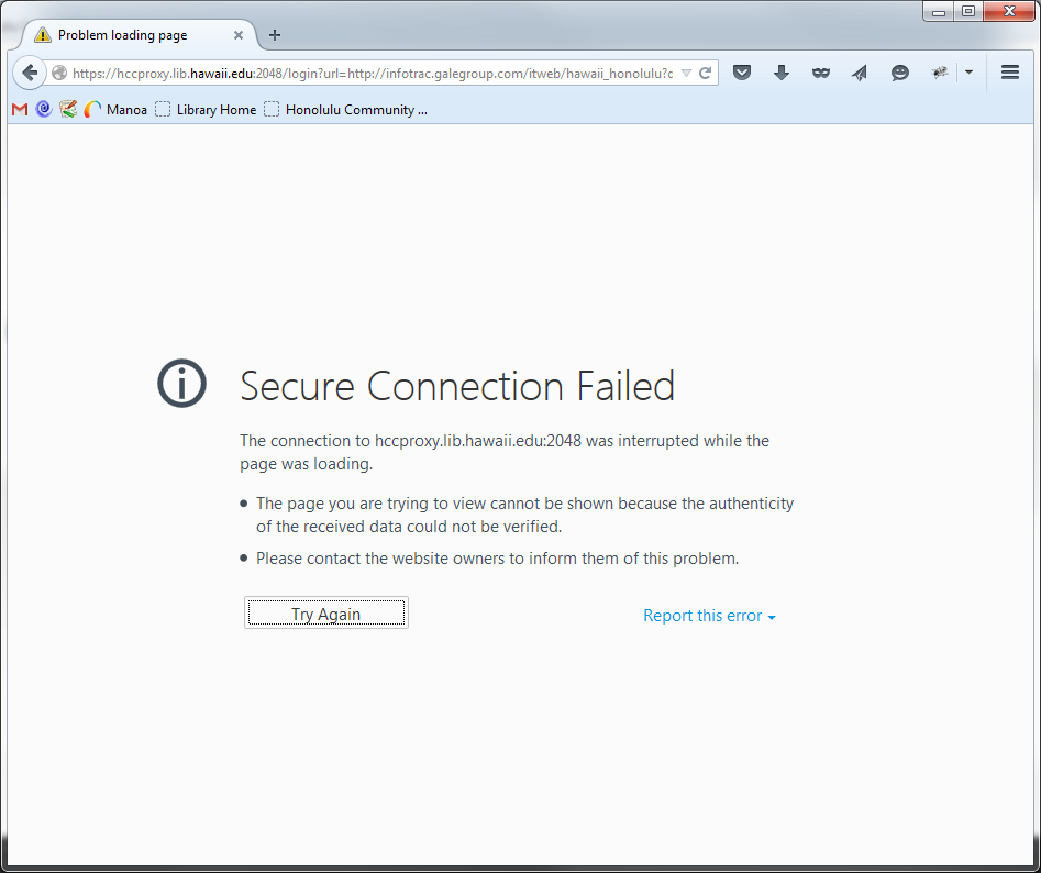 "Screenshot of the Firefox browser showing the ""secure connection failed"" error message."