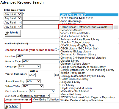 caalog search screen with an option to limit searches to online resources