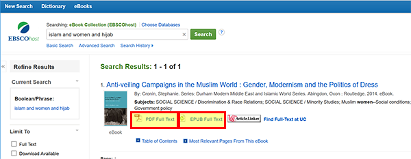 EBSCOhost search results with full text format options.