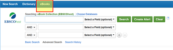 EBSCOhost search screen