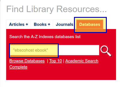 Search box for databases