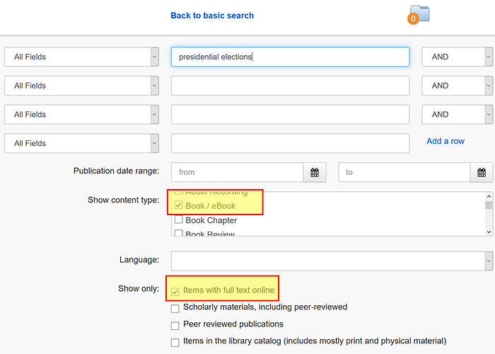 Summon advanced search box with e-books options selected