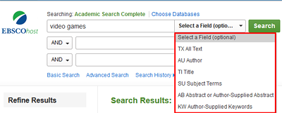 Database search box with field selection options
