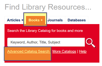Catalog search box with the Advanced Search option