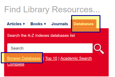 Databases search box with the Browse Databases option