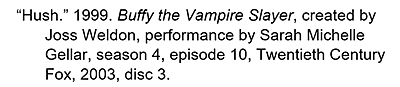 Citation for an episode in a TV series watched on DVD