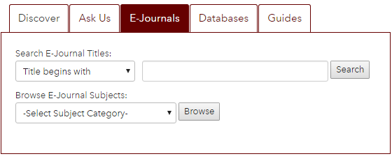 e-journals tab