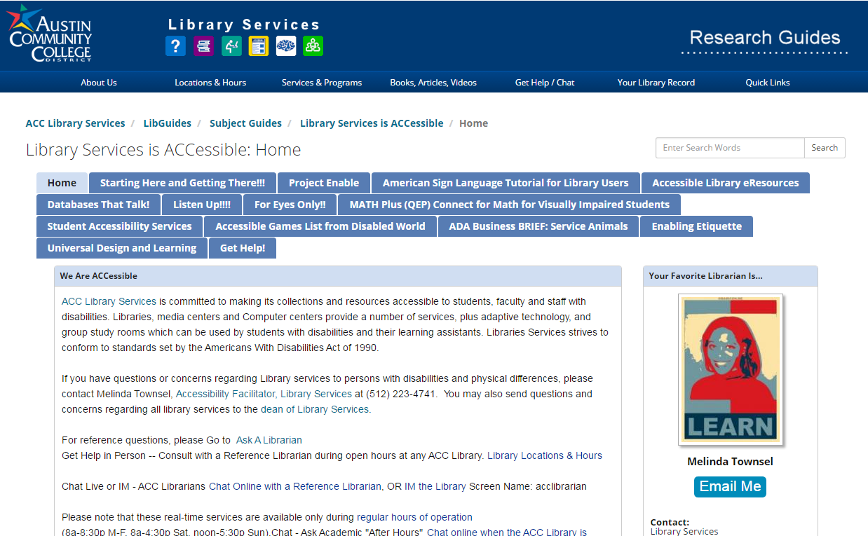 LibGuide - Library Services is ACCessible - click here
