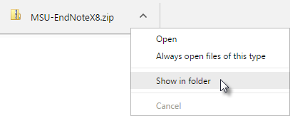 Chrome Download, Click Show in Folder