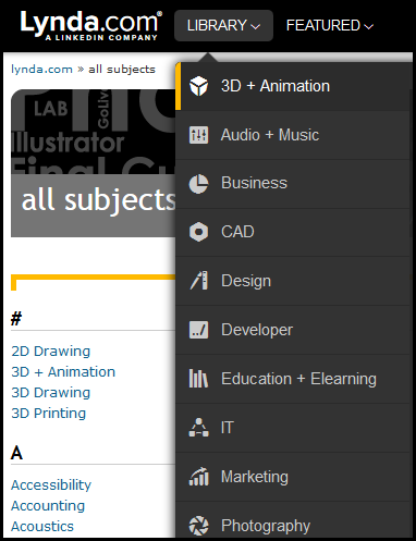 Lynda topics screenshot
