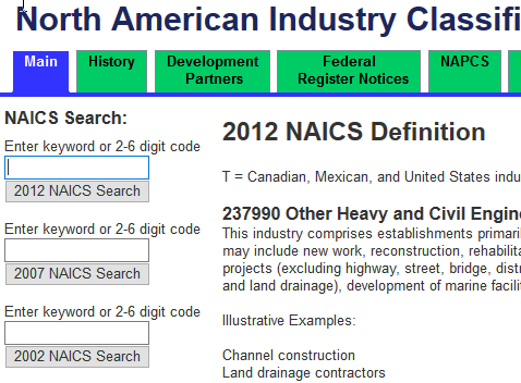 NAICS screenshot