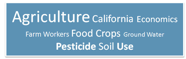 Keywords for topic - Agriculture, California, Economics, Farm Workers, Food, Crops, Ground Water, Pesticide, Soil, Use