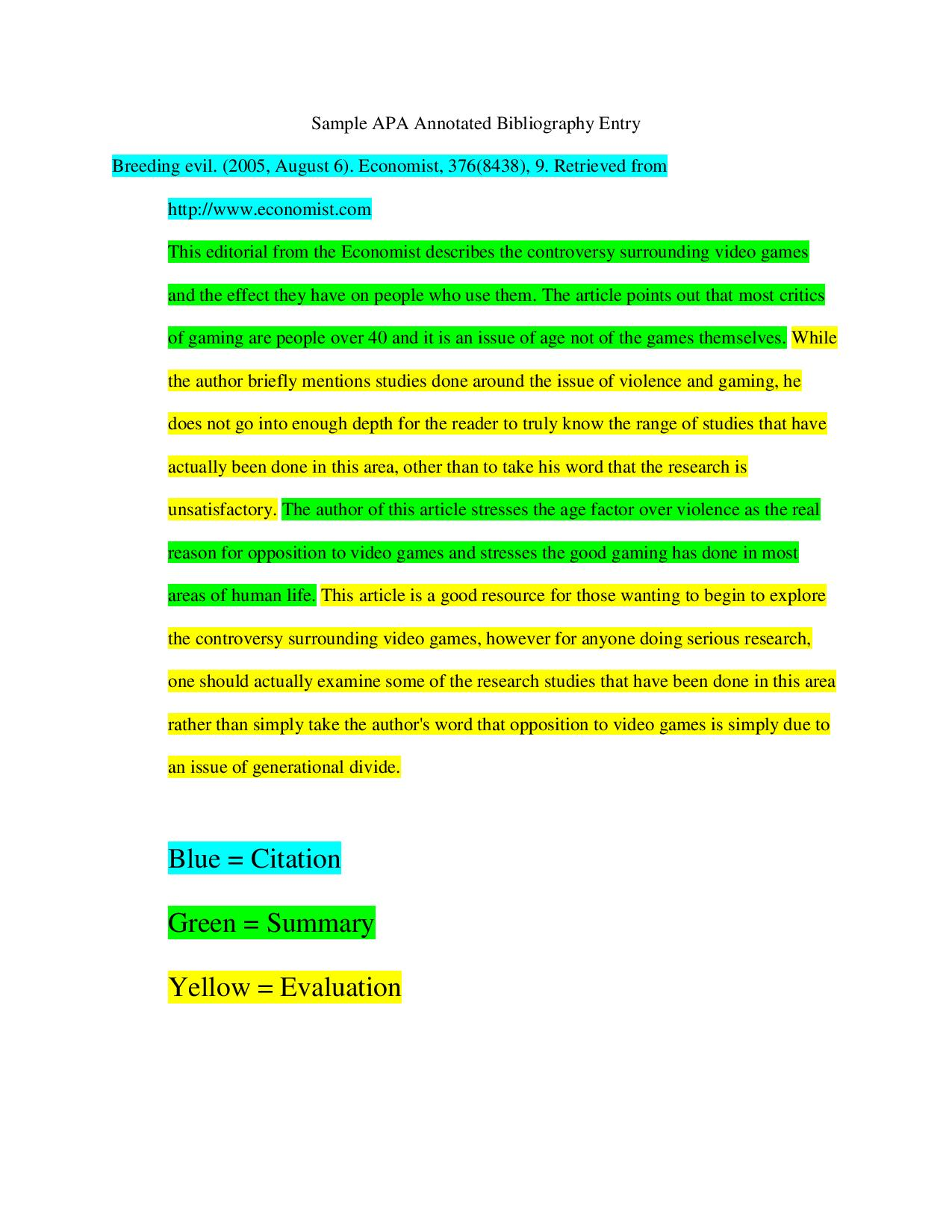 writing an annotated bibliography apa Entries in an annotated bibliography have two parts a citation for each book,  article, website, video, or other information source that you are.