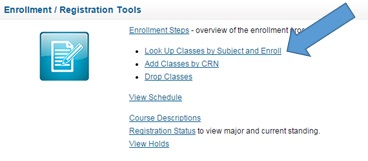 MyTCC picture of link to look up classes