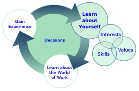 picture of a career flow chart showing how decisions are affected by experience and learning about yourself