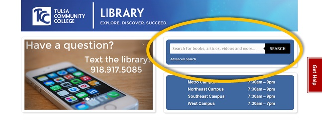 picture of discovery search on TCC webpage