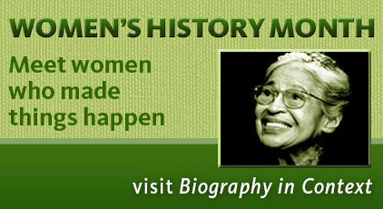 visit biography in context database for women's history month