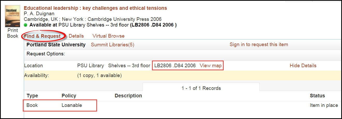 book record in PSU Library catalog