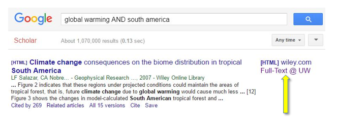 Google Scholar Full-Text @ UW