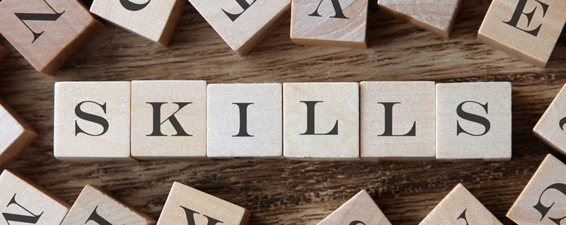 "The word ""skills"" spelled out with wooden blocks"