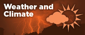 Weather and Climate text with Sun and Clouds