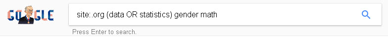 image of search entered in Google: site:.org (data OR statistics) gender math