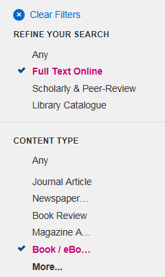 Library Search screenshot showing full text online and books/ebooks filters selected.