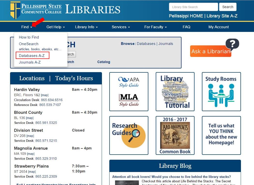 Image of library homepage, showing where to access the library databases.