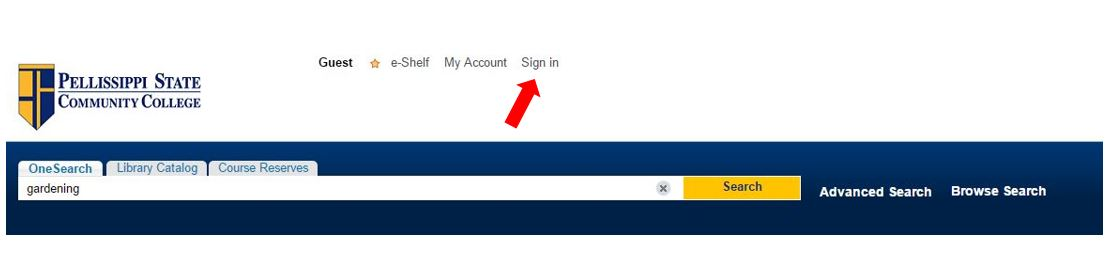 Image shows where to sign into your account from within OneSearch.