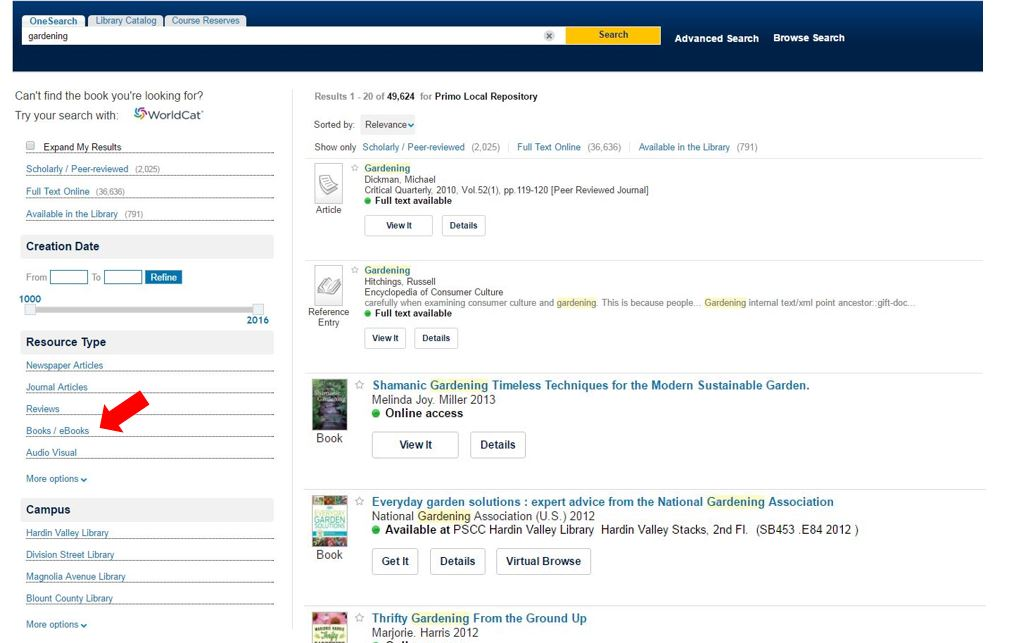 Image shows search results in OneSearch and how to narrow by books / eBooks.