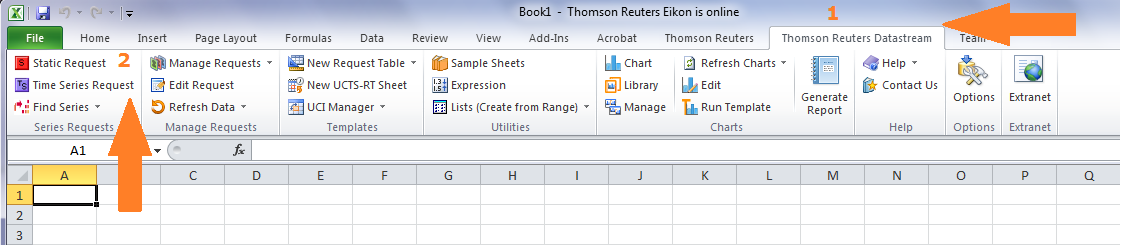 Thomson Reuters Eikon Excel Time Series Request